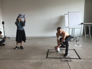 Bild:  InOctober – International Network for Contemporary Public Art | Caption: Performance by Roman Osminsky during Summer School Zuerich 2016 Toni Areal | Credits: Christoph Schenker