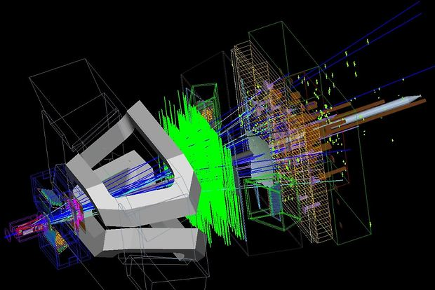 Bild:  LHCb Monte Carlo event simulation of Bs to J/psi Phi particles