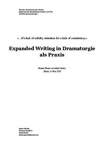 Picture: Expanded Writing in Dramaturgie als Praxis