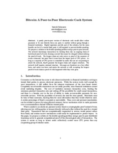 Bild:  Bitcoin: A Peer-to-Peer Electronic Cash System